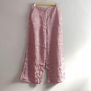 Pink satin jaquard pants